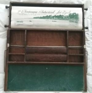 Rare Antique Chautauqua Industrial Art Desk Map Chalkboard 1900 Child Student