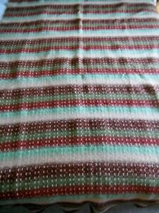 Antique Linsey Woolsey Overshot Hand Woven Coverlet 19th Century