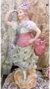 Antique German Bisque Beaded Figurine Statuette Victorian Lady Pink 12