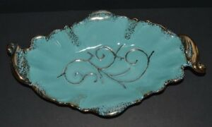 Mid Century Modern Maurice Of Calif Console Bowl Dish G803 Turquoise W Gold