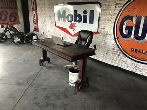 Vintage Industrial Table Desk Workstation Custom Hand Built Fabricated Office