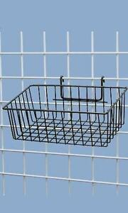 5 Wire Grid Baskets Basket Black Powder Coat 12 X 8 X 4 Retail Display Stock