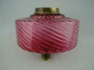Victorian Cranberry Glass Swirled Ribbed Moulded Oil Lamp Font Brass Fittings