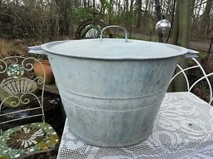 Vintage 4 5 Gallon Galvanised Washing Tub With Lid Good Condition