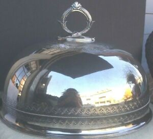 Huge Antique English Silver Plate Meat Food Dome