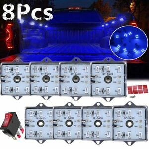8pcs Blue Led Truck Bed Dome Roof Lighting Light Lamp For Chevy Dodge Gmc