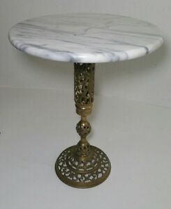Vintage Round Marble Top On Brass Pedestal End Table Planter Plant Stand Ornate