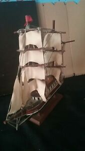 Vintage Wood Sailing Clipper Ship 12x12 Model