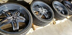 Gianna Wheels Blitz 24x10 Gray With 24 Kumho Ecsta Tires Set Of 4