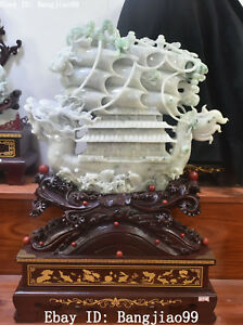 70cm Natural Jadeite Emerald Jade Wealth Dragon Boat Loong Ferry Fish Statue