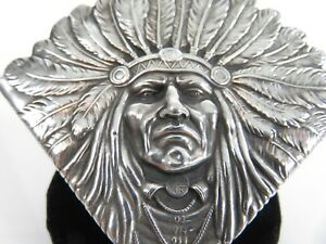 Rare Unger Brothers Sterling Indian Chief Sitting Bull Blotter Corner C1905