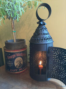 Primitive Paul Revere Punched Pierced Tin Hanging Farmhouse Lantern W Candle