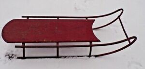 Early Antique Wood Ornate Iron Childrens Sled Victorian Sleigh Great Display