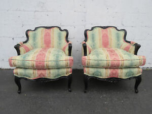 Pair Of French Carved Painted Living Bed Room Side Chairs 8889