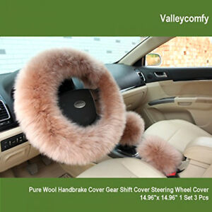 15 Inch Universal Steering Wheel Cover Wool Covers Set For Women Girls Girl Car