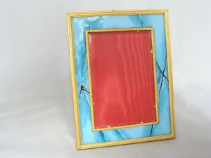 Antique Art Deco French Enamel Dore Gold Photo Picture Easel Frame