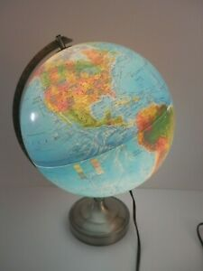 Lighted Replogle Globe World Horizon Scanglobe Compass 30 Cm Great Condition