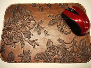 Leather Floral Mouse Pad Unique Design Made In Usa Light Brown