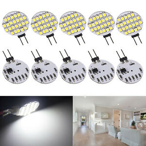 10 X Pure White G4 24 Smd Base Disc Type Side Pin Marine Reading Led Light Bulbs
