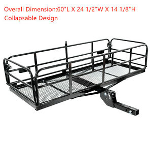 Fold Up 60 X 24 X 14 Basket Trailer Hitch Cargo Carrier Fit 2 Receiver