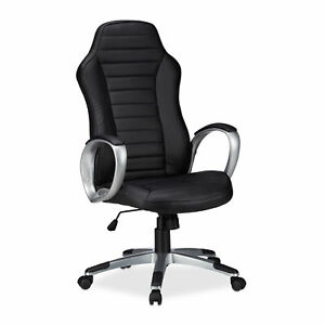 Office Desk Chair Ergonomic Swivel Executive Chair With Castors Black