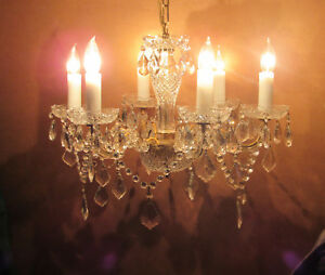 Vintage Czech Crystal Prism Chandelier 6 Lights Marie Therese 22