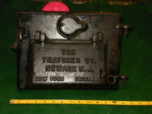 Antique 1920s Vintage The Thacher C O N J Gas Furnace Cast Iron Cover Door
