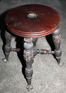 Vintage Antique Wood Oranate Metal Claw Glass Ball Feet Piano Organ Stool