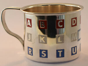 Vintage Sterling Silver Enamel Alphabet Baby Cup With Handle