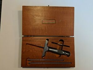 Starrett 440 Depth Micrometer 0 3 W Wooden Box