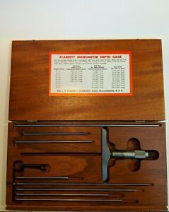 Starrett 445 Depth Micrometer 0 8in W Wooden Box