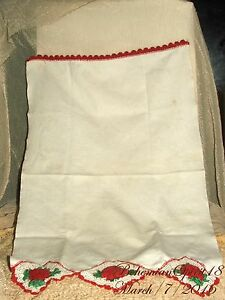 Antique Beautiful French Red Roses Hand Crochet On Linen As Is Doilies