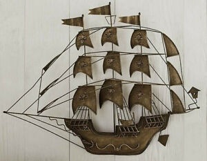 Mid Century Brutalist 3 D Metal Wall Art Clipper Tall Ship Galleon Bronze Finish