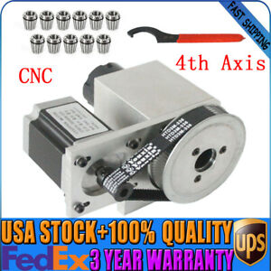 Hollow Shaft Cnc 4th Axis Rotary Router Rotational Axis Er32 Collet Set 3 20mm