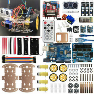 Car Chassis Robot 4wd Ultrasonic Control Driver Follower L298n Charger Motor