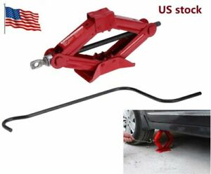 Pro Emergency Wind Up Scissor Jack Lift For Car Van Garage W Speed Handle 1 Ton