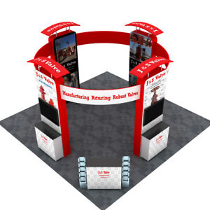 20ft Portable Trade Show Display Booth Exhibition With Counters Lights Tv Mount