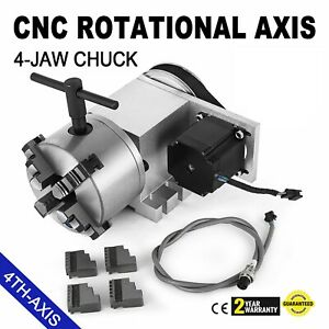 Cnc Router Rotational Rotary Axis 4 jaw 4th axis Self centering High Performance