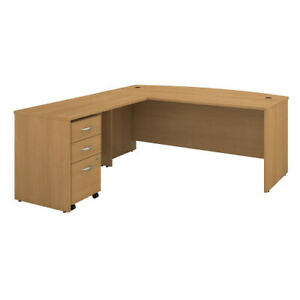 72w Bow Front Desk With 48w Return And 3 Dwr Mobile Pedestal Bshsrc084losu