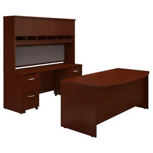 72w Bow Front Desk With Credenza Hutch And Storage Bshsrc082masu