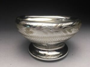 Rare 19c Engraved Mercury Glass Footed Bowl
