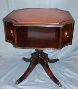 Mahogany Leather Top Octagonal Library Drum Table