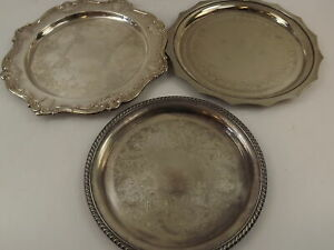 Silver Plated Etched Serving Platters Gorham Rogers 3