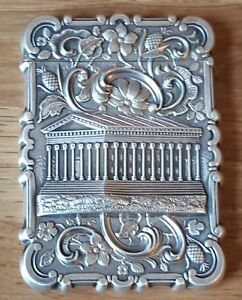 American Sterling Silver Vintage Victorian Antique Parthenon Card Case Box