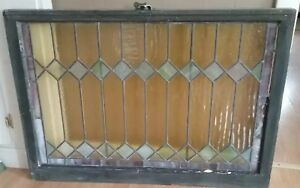 Large Antique Leaded Stained Texured Glass Window Original Sash C 1900