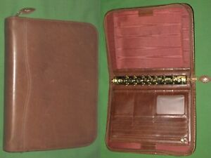 Desk 1 0 Brown Leather Day Timer Planner Binder Classic Franklin Covey 8274