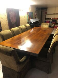 Amish Style Conference Table With 10 Chairs