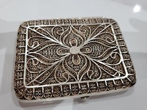 Antique 1920s Sterling Silver Filigree Handcrafted Cigarette Card Case 86 G