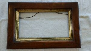 Antique Circa 1895 France Eastlake Style Oak Picture Frame Hand Carved