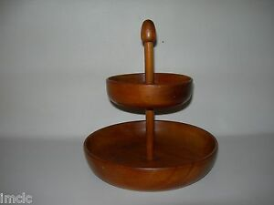 Antique Primitive Signed Hand Turned Wood 2 Tier Treen Bowl Acorn Finial Handle